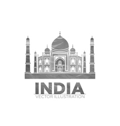 Stencil of the taj mahal on a gray background vector