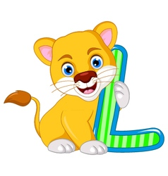 Funny lion cartoon posing vector