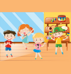 Boy and girl in music class vector