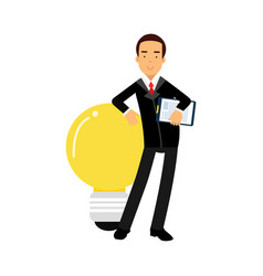 Businessman character leaning on a giant light vector
