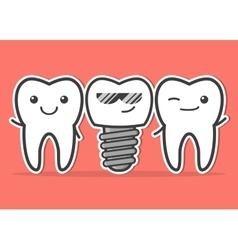 Cartoon dental implant and teeth vector