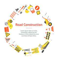 cartoon road construction banner card circle vector image