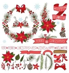 Christmasnew year decorpoinsettiaspruce vector