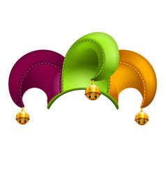 clown cap with golden bells vector image vector image