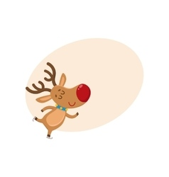 Cute and funny christmas reindeer ice skating vector