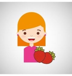 Cute girl cartoon strawberry health graphic vector