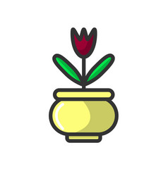 Cute small potted flower vector