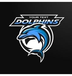 Dolphin logo emblem for a sport team vector