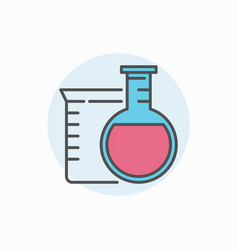 Flask and beaker icon vector