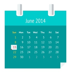 Flat calendar page for June 2014 vector image