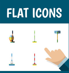Flat icon cleaner set of mop equipment cleaning vector