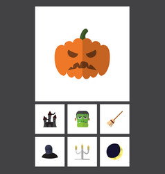 Flat icon halloween set of broom pumpkin tomb vector