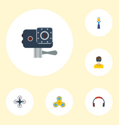 Flat icons stick fidget virtual reality and vector