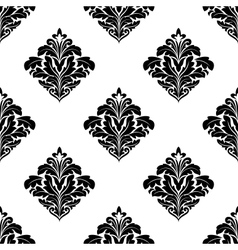 Foliate arabesque motifs in a diamond pattern vector
