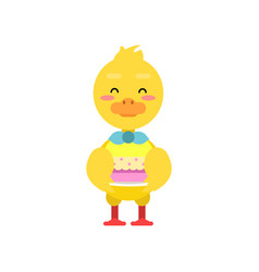 funny little yellow duckling holding birthday cake vector image