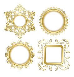 golden decorative frames with transparent shadow vector image