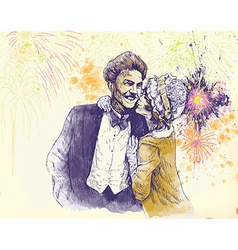 happy new year - the kiss vector image