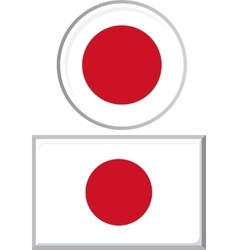 Japanese round and square icon flag vector