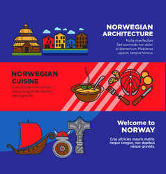 Journey to norway promotional posters with vector