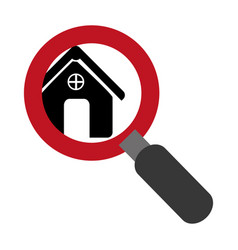 Magnifying glass with with zoom silhouette house vector