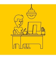Man Work with Computer Design Flat vector image vector image