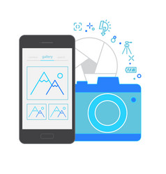 Mobile application interface camera vector