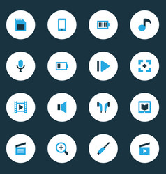 Multimedia colorful icons set collection of slow vector