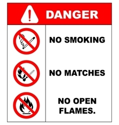 No smoking No open flame Fire open ignition vector image vector image