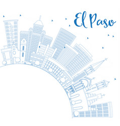 Outline el paso skyline with blue buildings and vector