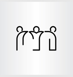 People friends black line icon vector