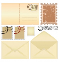 postcard and stamps vector image vector image
