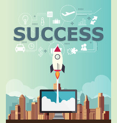 Rocketship on computer for startup success media vector