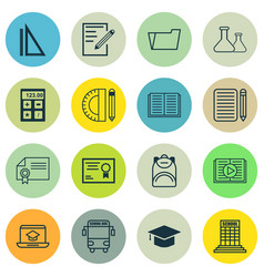 set of 16 education icons includes chemical vector image