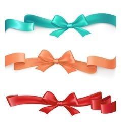 set of satin ribbons with bows in different vector image vector image