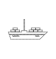 ship sign black dashed icon vector image