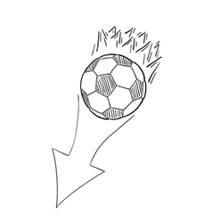 sketch of the flying football ball with flames and vector image