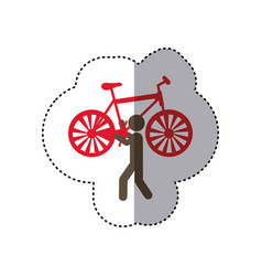 Sticker colorful worker holding up bicycle vector