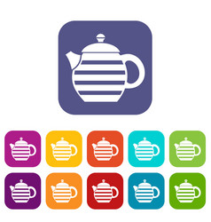 striped teapot icons set vector image