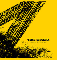Tire tracks marks on grunge yellow background vector