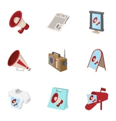 Types of advertising icons set cartoon style vector
