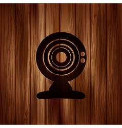 Web camera icon Wooden texture vector image vector image