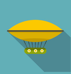 yellow retro hot air balloon icon flat style vector image vector image