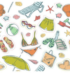 Hand drawn retro summer beach set seamless pattern vector image