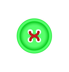 Sewing button in green design with sewing thread vector