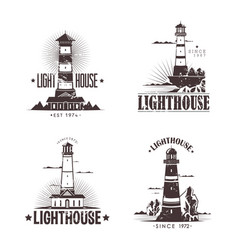 Set of sketches of lighthouses on rocks vector
