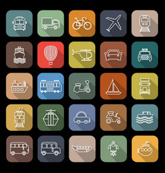 Transportation line flat icons with long shadow vector