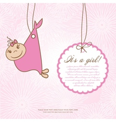 Baby girl shower card with foot steps and frame vector