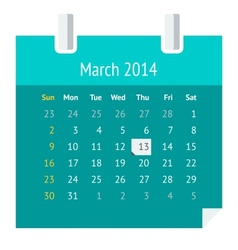 Flat calendar page for march 2014 vector