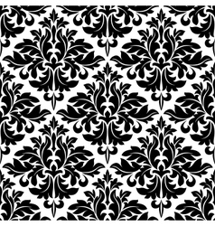 Black and white floral arabesque pattern vector