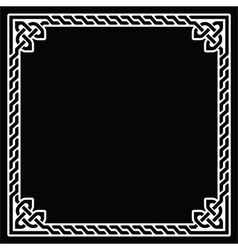 Celtic frame border white pattern on black vector